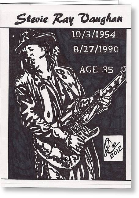 Greeting Card featuring the drawing Stevie Ray Vaughn by Jeremiah Colley