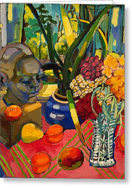 Still Life With Cut Glass Vase Greeting Card