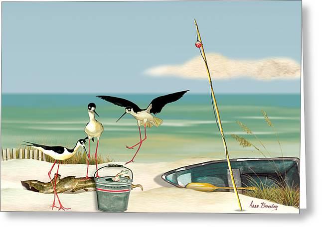 Stilts On Beach Greeting Card