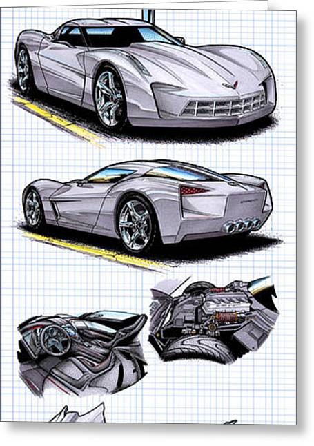 Greeting Card featuring the drawing Stingray Concept Corvette by K Scott Teeters