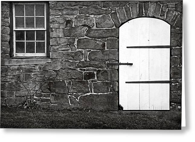 Stone Barn Window Cathedral Door Greeting Card by John Stephens