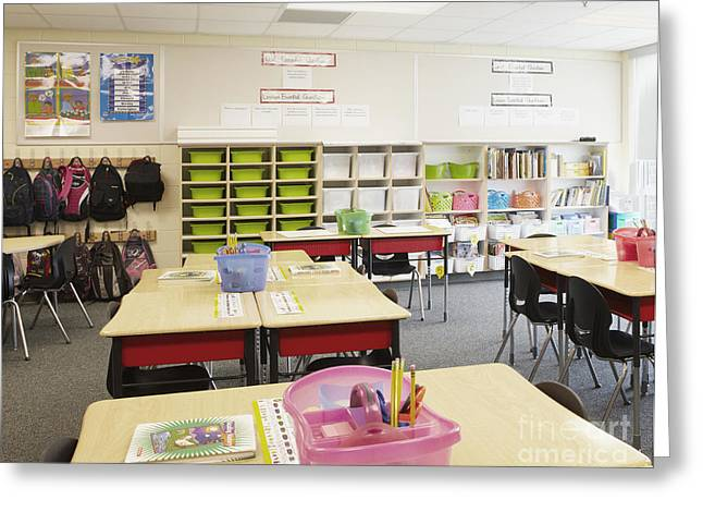 Student Desks In Classroom Greeting Card by Skip Nall