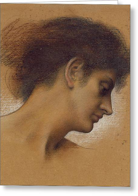 Study Of A Head Greeting Card by Evelyn De Morgan