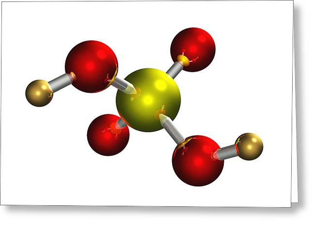 Sulphuric Acid Molecule Greeting Card by Dr Mark J. Winter