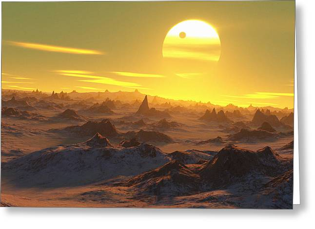 Sun Over Dying Earth Greeting Card by Detlev Van Ravenswaay