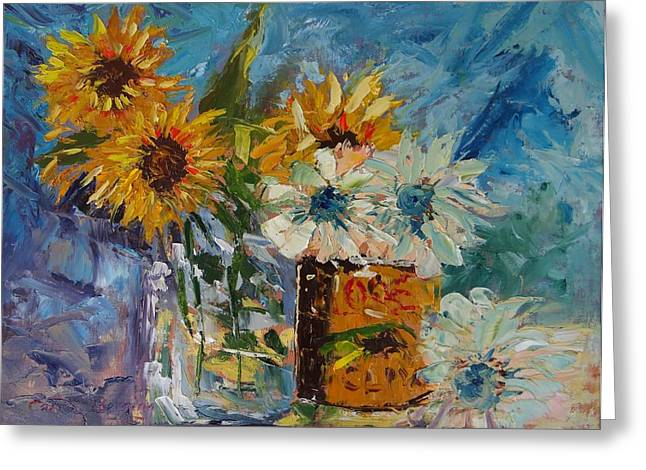 Sunflower Still Life Greeting Card by Carol Berning