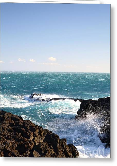 Sunny Day And Stormy Sea Greeting Card by Kathleen Pio