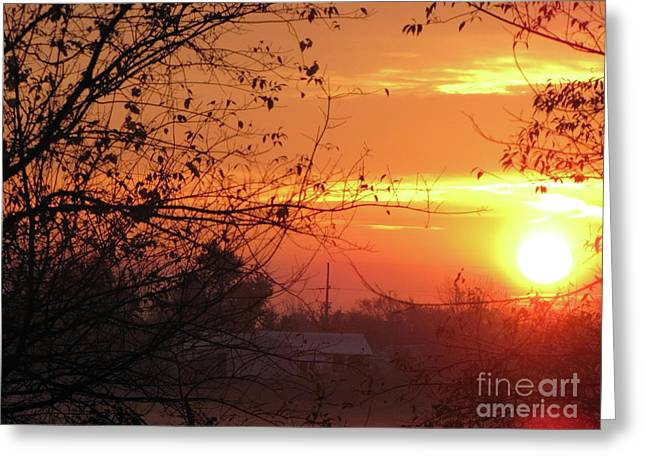 Sunrise Over Rural Homestead Greeting Card by Cedric Hampton