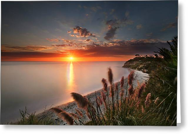 Sunset At Swamis Beach 2 Greeting Card