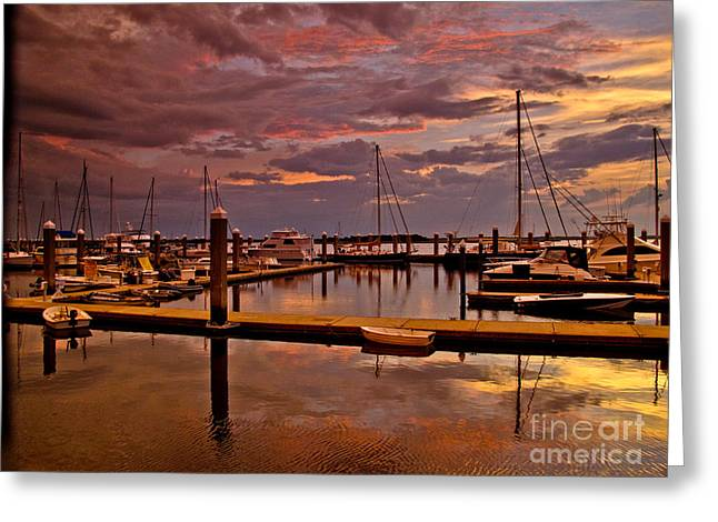 Sunset At The Marina Greeting Card by Scott Moore