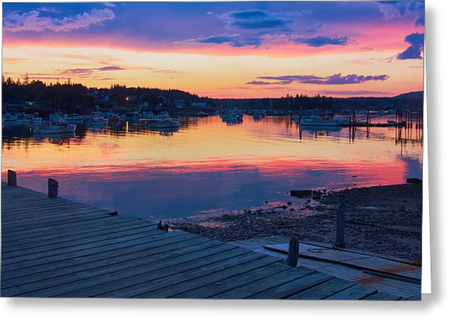 Sunset Bass Harbor Maine Greeting Card