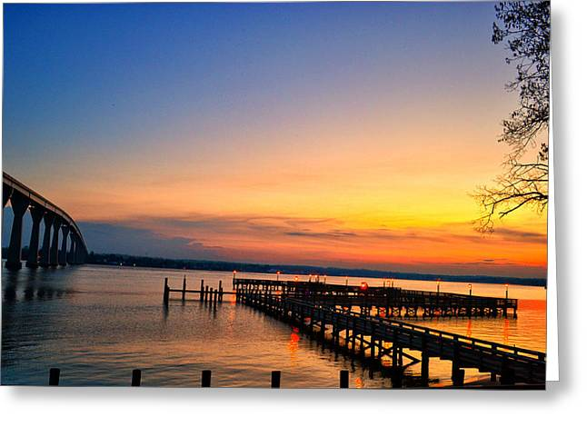 Sunset Bridge Greeting Card by Kelly Reber