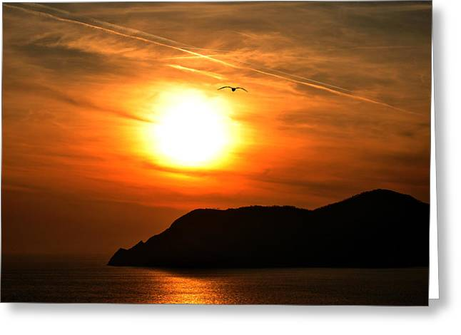 Sunset In The Village Corniglia Greeting Card by Neha Singh