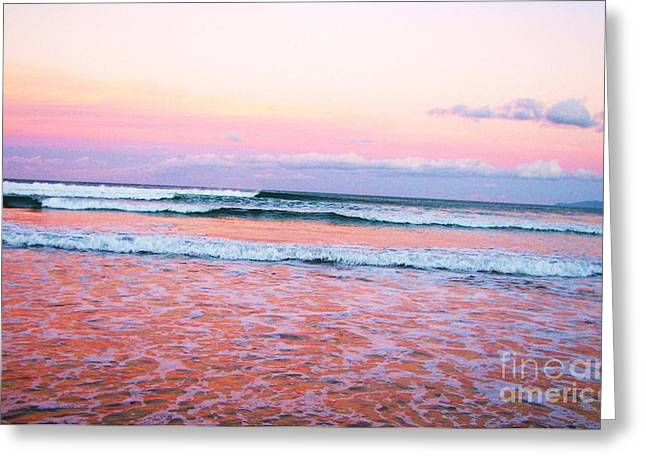 Sunset In The Waves Greeting Card