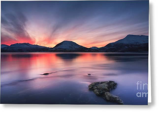 Sunset Over Tjeldsundet, Troms County Greeting Card