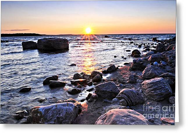 Sunset Over Water Greeting Card by Elena Elisseeva