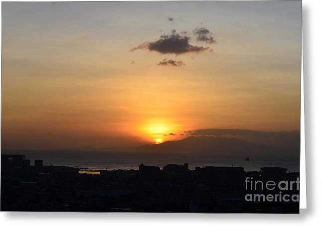 Sunset Upon The Ocean  Greeting Card