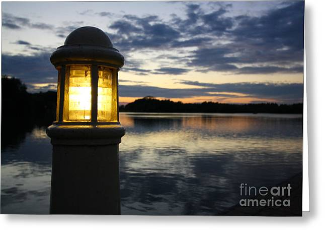 Sunset With Light Greeting Card by Jo