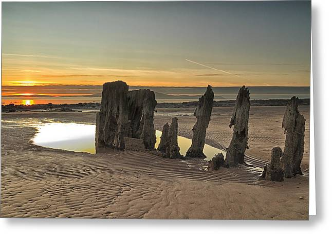 Sunset Wreck Greeting Card by Fiona Messenger