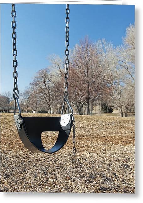 Swing Set On A Grass Field Greeting Card by Thom Gourley/Flatbread Images, LLC