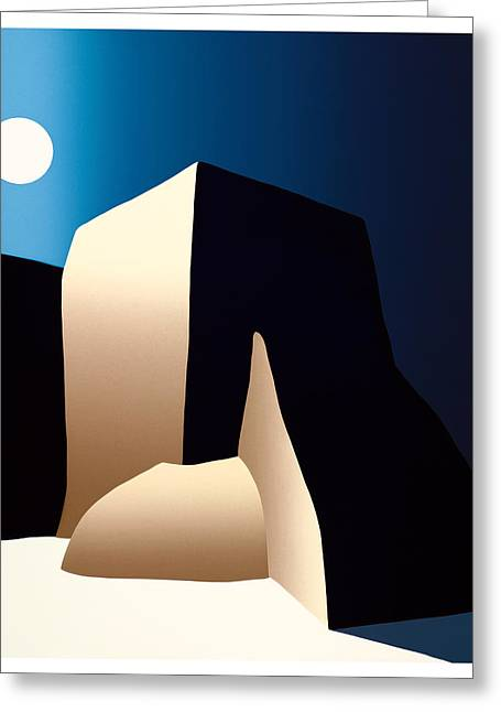 Taos Moon Greeting Card by Ed Wyatt