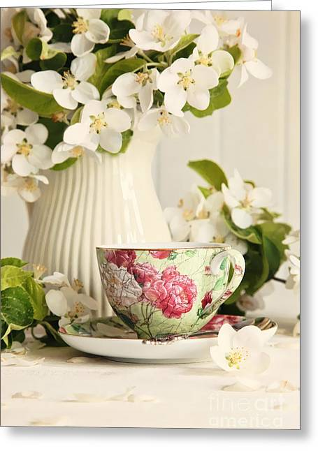 Tea Cup With Fresh Flower Blossoms Greeting Card by Sandra Cunningham