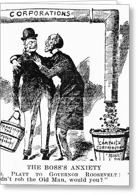 Teddy Roosevelt Cartoon Greeting Card by Granger