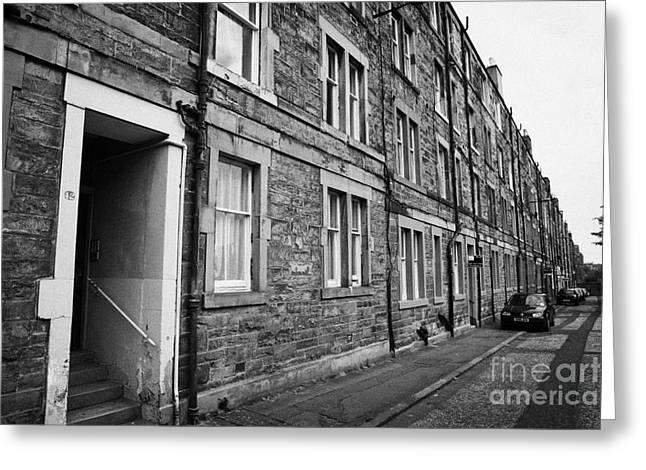 Tenement Houses Now Apartments In Edinburgh Scotland Greeting Card
