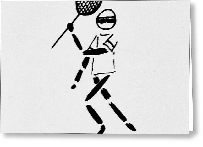 Tennis Guy Greeting Card by Robin Lewis