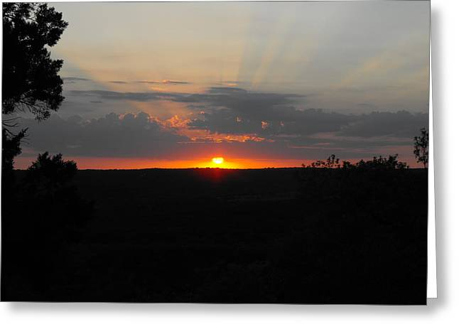 Texas Sunset Greeting Card by Rebecca Cearley