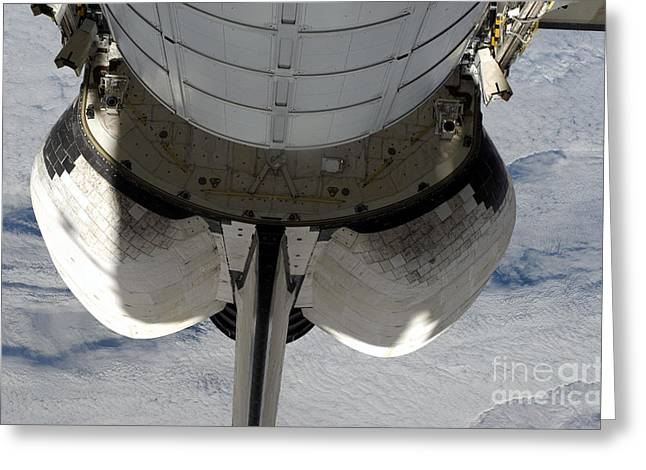 The Aft Portion Of The Space Shuttle Greeting Card by Stocktrek Images