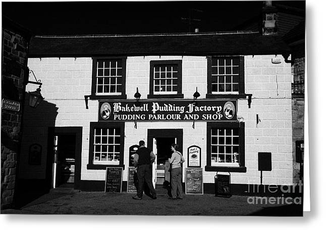 the bakewell pudding factory in Bakewell town Peak District Derbyshire England UK Greeting Card