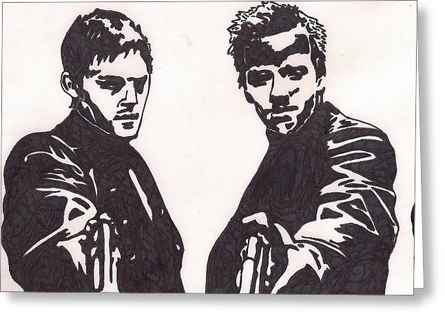 Greeting Card featuring the drawing The Boondock Saints by Jeremiah Colley