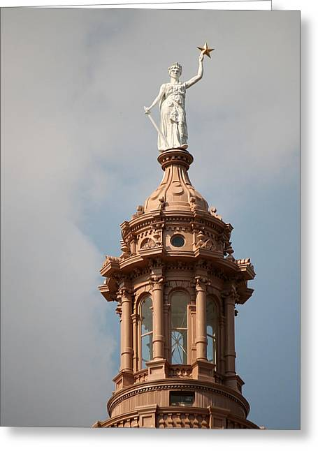 The Goddess Of Liberty In Austin Texas Greeting Card by Sarah Broadmeadow-Thomas
