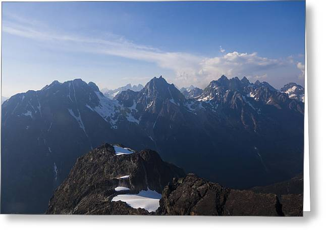The Jagged Tops Of High Mountain Peaks Greeting Card