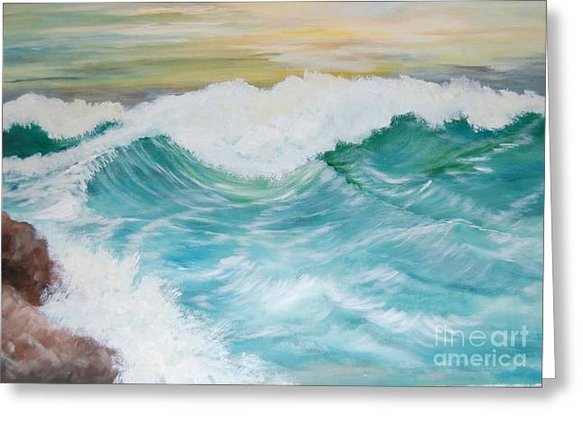 The Mighty Pacific Greeting Card by Janna Columbus
