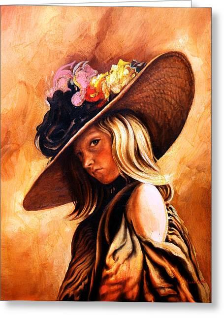The Portrait Of A Girl Greeting Card by Jivan Hovhannisian