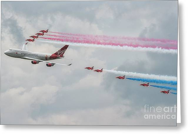 The Red Arrows Greeting Card by Lee-Anne Rafferty-Evans