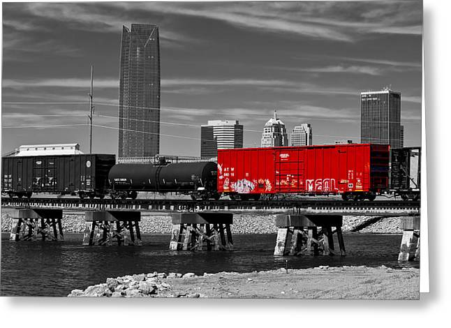 The Red Box Car Greeting Card by Doug Long