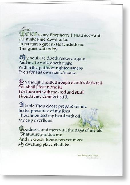 The Twenty-third Psalm Greeting Card by Judy Dodds