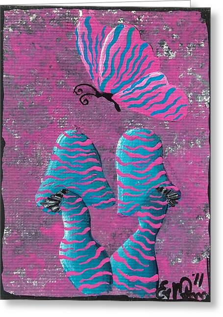 Greeting Card featuring the painting The Zebra Effect by Oddball Art Co by Lizzy Love