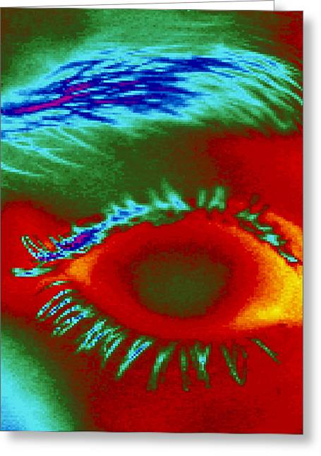Thermogram Of A Close-up Of A Human Eye Greeting Card by Dr. Arthur Tucker