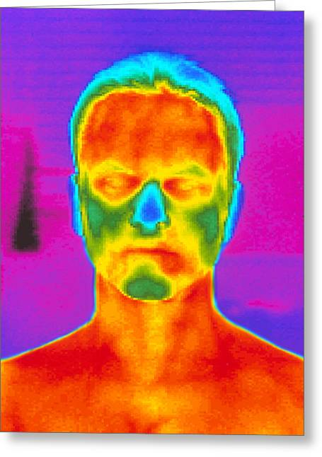 Thermogram Of A Man's Head And Shoulders Greeting Card by Dr. Arthur Tucker