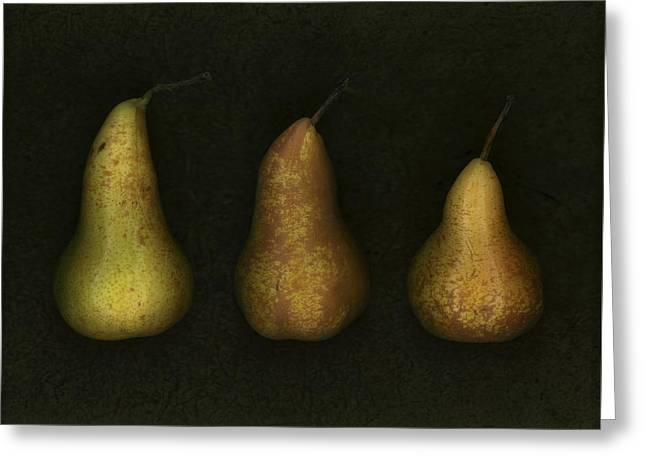 Three Golden Pears Greeting Card by Deddeda