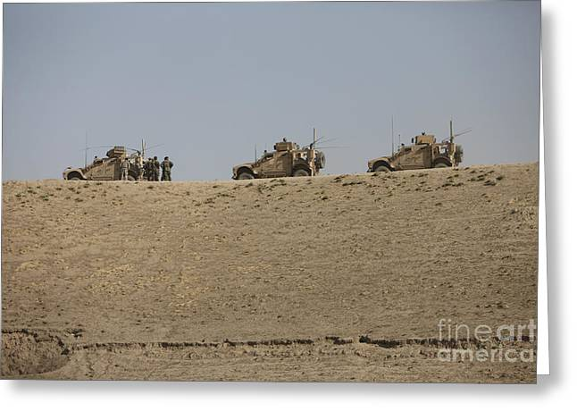 Three M-atvs Guard The Top Of The Wadi Greeting Card by Terry Moore