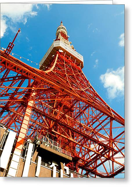 Tokyo Tower Face Cloudy Sky Greeting Card