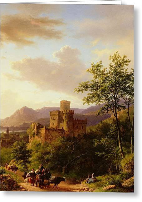 Travellers On A Path In An Extensive Rhineland Landscape Greeting Card by Barend Cornelis Koekkoek