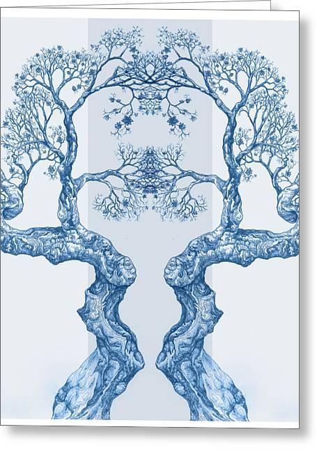 Tree 14 Blue 6 Greeting Card