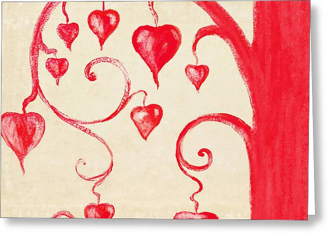 Tree Of Heart Painting On Paper Greeting Card by Setsiri Silapasuwanchai