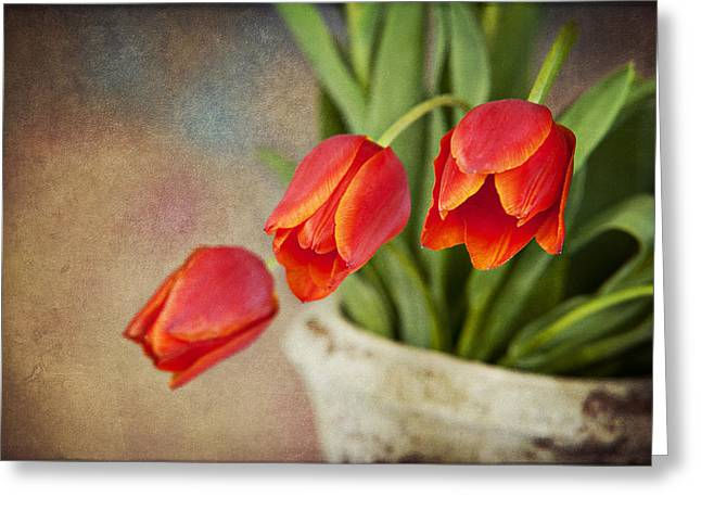 Greeting Card featuring the digital art Tulip Cascade by Cheryl Davis